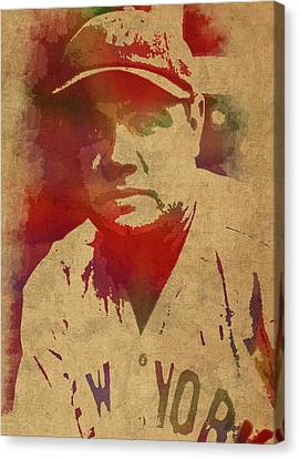 Babe Ruth Baseball Player New York Yankees Vintage Watercolor Portrait On Worn Canvas Canvas Print by Design Turnpike