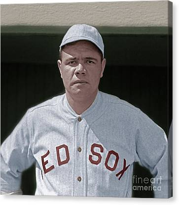 New Ball Park Canvas Print - Babe Ruth Boston Red Sox Colorized 20170622 Square by Wingsdomain Art and Photography