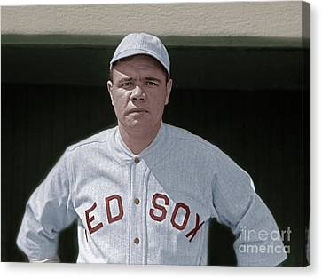 Minor League Canvas Print - Babe Ruth Boston Red Sox Colorized 20170622 by Wingsdomain Art and Photography