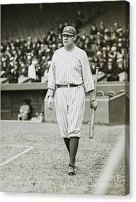 Old Pitcher Canvas Print - Babe Ruth Going To Bat by Jon Neidert