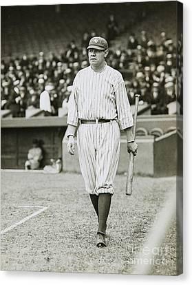 Babe Ruth Going To Bat Canvas Print by Jon Neidert