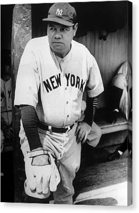 Babe Ruth In The New York Yankees Canvas Print by Everett