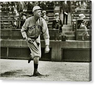 Old Pitcher Canvas Print - Babe Ruth Pitching by Jon Neidert