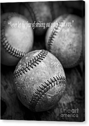 Babe Ruth Quote Canvas Print by Edward Fielding
