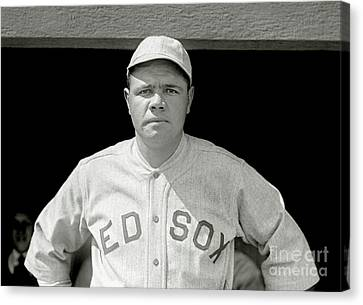 Vintage Baseball Canvas Print - Babe Ruth Red Sox by Jon Neidert
