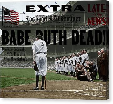 Babe Ruth The Sultan Of Swat Retires At Yankee Stadium And Newspaper Colorized 20170625 Canvas Print by Wingsdomain Art and Photography