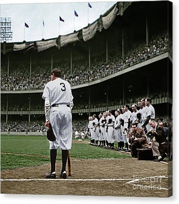 Babe Ruth The Sultan Of Swat Retires At Yankee Stadium Colorized 20170622 Square Canvas Print by Wingsdomain Art and Photography