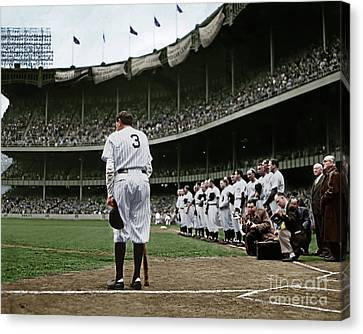 New York Baseball Parks Canvas Print - Babe Ruth The Sultan Of Swat Retires At Yankee Stadium Colorized 20170622 by Wingsdomain Art and Photography