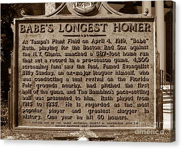 Babes Longest Homer Canvas Print by David Lee Thompson