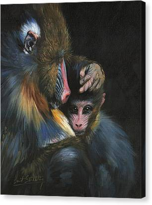 Canvas Print featuring the painting Baboon Mother And Baby by David Stribbling