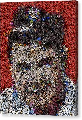 Canvas Print featuring the mixed media Babr Ruth Puzzle Piece Mosaic by Paul Van Scott