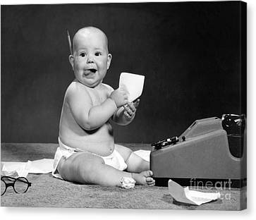 Baby Accountant, 1960s Canvas Print by H. Armstrong Roberts/ClassicStock