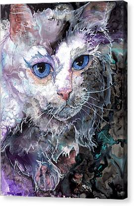 Canvas Print featuring the painting Baby Blues by Sherry Shipley