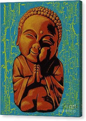 Canvas Print featuring the painting Baby Buddha by Ashley Price