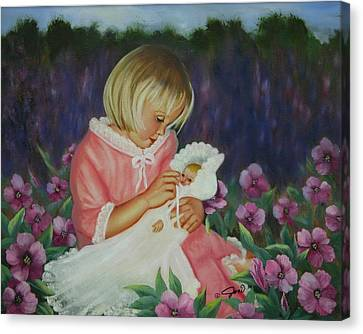 Canvas Print featuring the painting Baby  Doll by Joni McPherson