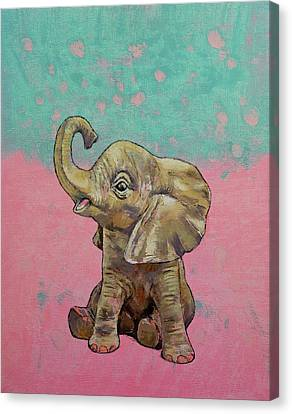 Shower Canvas Print - Baby Elephant by Michael Creese
