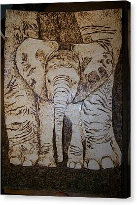 Baby Elephant Pyrographics On Paper Original By Pigatopia Canvas Print by Shannon Ivins