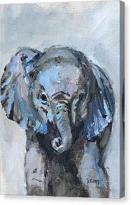 Baby Elephant Safari Animal Painting Canvas Print by Donna Tuten