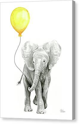 Yellow Elephant Canvas Print - Baby Elephant Watercolor With Yellow Balloon by Olga Shvartsur