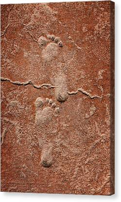 Baby Footsteps Etched In Stone Canvas Print by Tracie Kaska