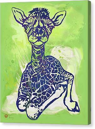 Giraffe Abstract Canvas Print - Baby Giraffe  -  Stylised Pop Art Poster by Kim Wang
