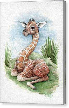 Canvas Print featuring the painting Baby Giraffe by Lora Serra