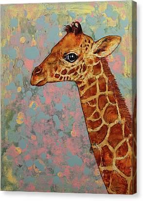 Giraffe Abstract Canvas Print - Baby Giraffe by Michael Creese