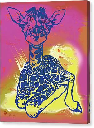 Baby Giraffe - Stylised Pop Art Poster Canvas Print