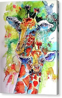 Baby Giraffe With Mammy Canvas Print by Kovacs Anna Brigitta