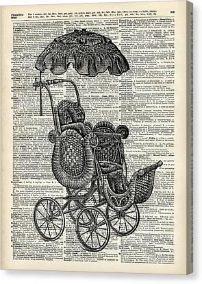 Baby Pram Over A Vintage Dictionary Page Canvas Print by Jacob Kuch