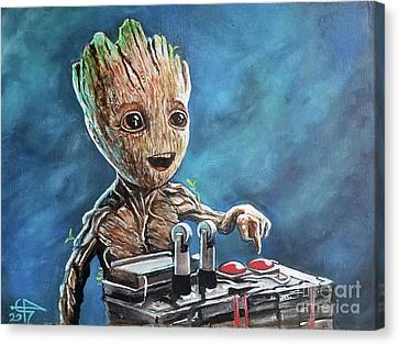 Baby Groot Canvas Print by Tom Carlton