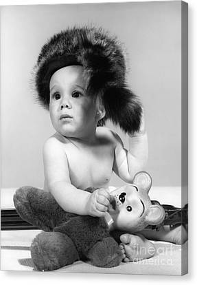 Baby In Coonskin Hat, C.1960s Canvas Print by H. Armstrong Roberts/ClassicStock