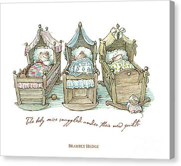 The Brambly Hedge Baby Mice Snuggle In Their Cots Canvas Print