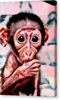 Baby Monkey Realistic Canvas Print