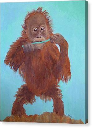 Baby Orangutan Playing Canvas Print by Margaret Saheed