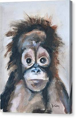 Baby Orangutan Safari Animal Painting Canvas Print by Donna Tuten