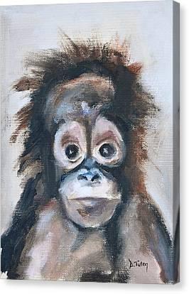 Baby Orangutan Safari Animal Painting Canvas Print