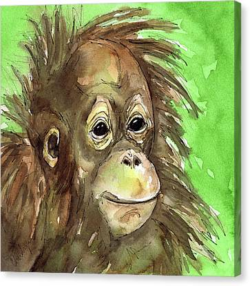 Orangutan Canvas Print - Baby Orangutan Wildlife Painting by Cherilynn Wood