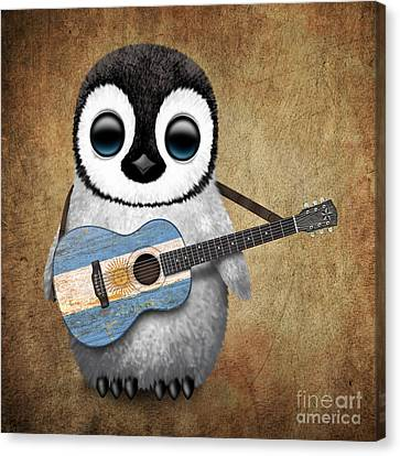Baby Penguin Playing Argentinian Flag Guitar Canvas Print by Jeff Bartels