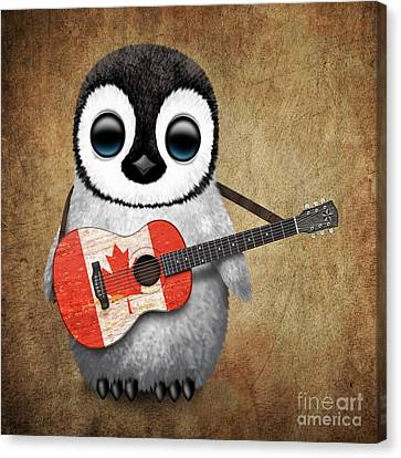 Adorable Canvas Print - Baby Penguin Playing Canadian Flag Guitar by Jeff Bartels