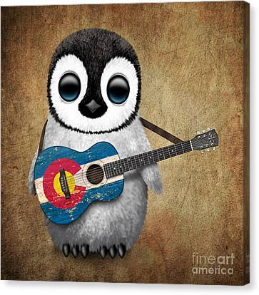 Baby Penguin Playing Colorado Flag Guitar Canvas Print by Jeff Bartels