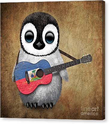 Baby Penguin Playing Haitian Flag Guitar Canvas Print