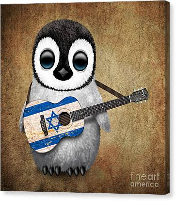 Baby Penguin Playing Israeli Flag Guitar Canvas Print