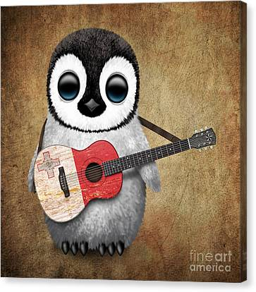 Baby Penguin Playing Maltese Flag Guitar Canvas Print by Jeff Bartels
