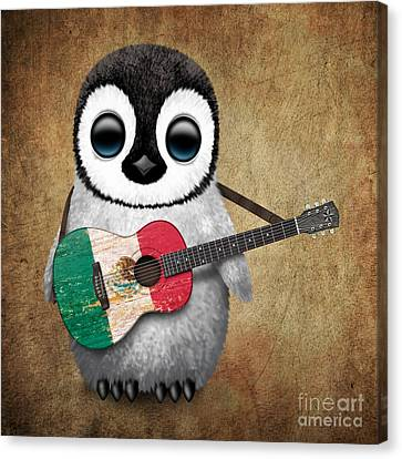 Adorable Canvas Print - Baby Penguin Playing Mexican Flag Guitar by Jeff Bartels