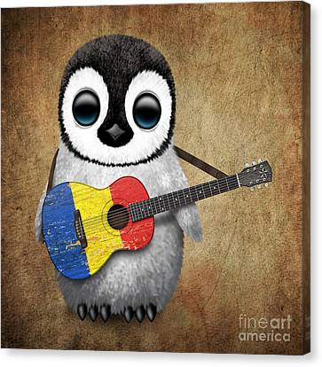 Baby Penguin Playing Romanian Flag Guitar Canvas Print