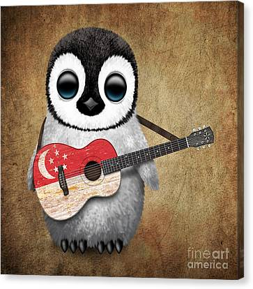 Baby Penguin Playing Singapore Flag Guitar Canvas Print by Jeff Bartels