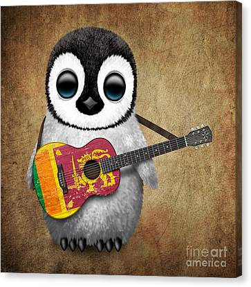 Adorable Canvas Print - Baby Penguin Playing Sri Lankan Flag Guitar by Jeff Bartels