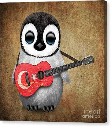 Adorable Canvas Print - Baby Penguin Playing Turkish Flag Guitar by Jeff Bartels
