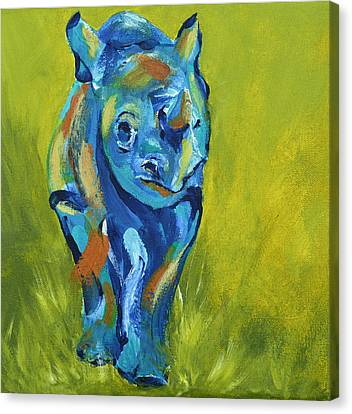 Baby Rhino Animal Art Painting Canvas Print by Catherine Jeltes